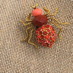 JOAN RIVERS BROOCH/PIN INSECT GOLDTONED ORANGE